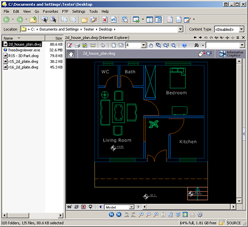 AutoCAD .DWG file displayed within Directory Opus