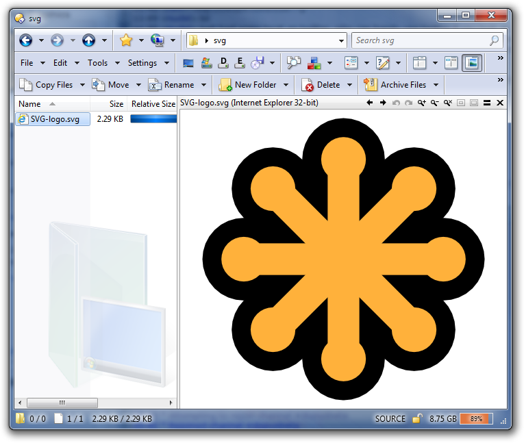 SVG file displayed in the Directory Opus viewer pane via Internet Explorer 9