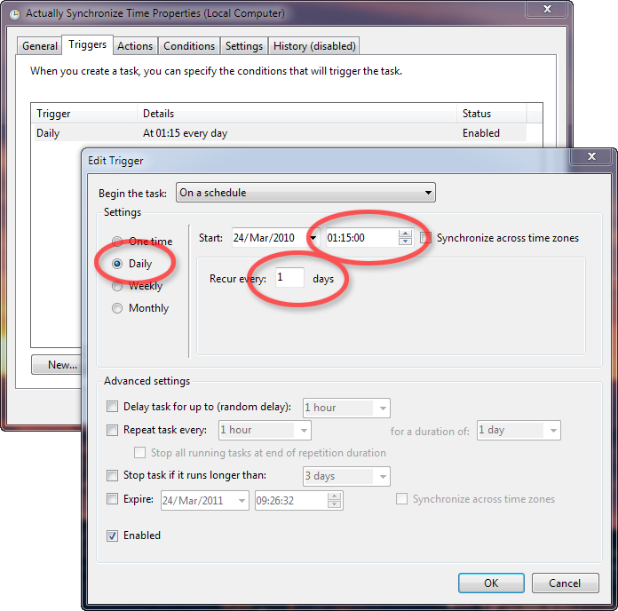 Set The Task To Run Daily At Time You Want I Suggest 115am As Its 15 Minutes After Default Synchronize